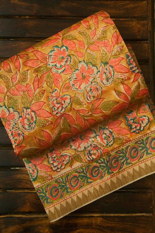 Pink with Yellow Floral Block Printed Chanderi Saree