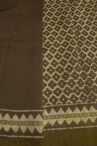 Grey with Small Floral Block Printed Chanderi Saree