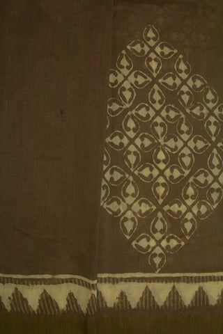 Grey Big Floral Block Printed Chanderi Saree