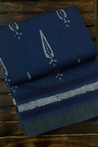 Blue with Big Temple Ghicha Border Block Printed Chanderi Saree