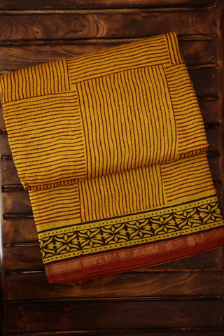 Yellow with Brown Lines Bagru Print Chanderi Saree