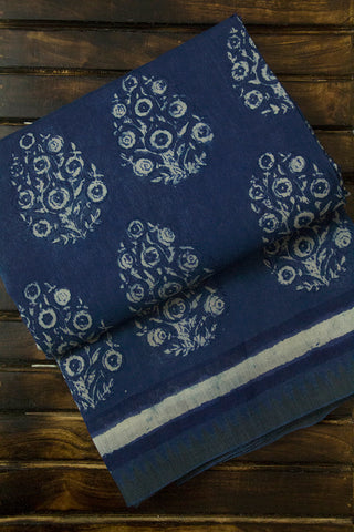 Indigo Blue Block Printed Chanderi Saree
