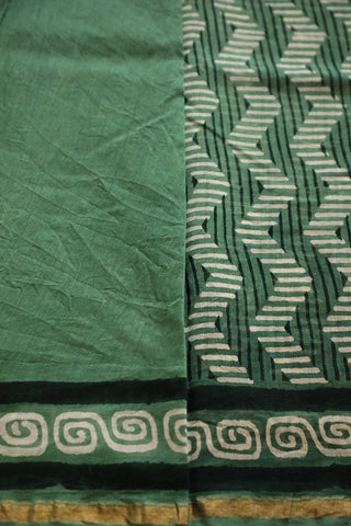 Green with Black and White Bagru Print Chanderi Saree