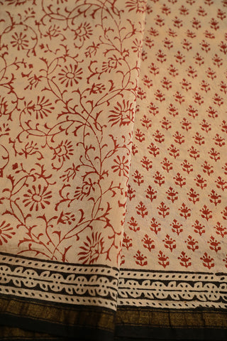 Beige with Small Floral Bagru Print Chanderi Saree