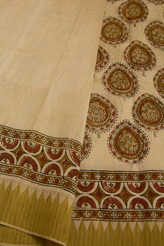 Beige with Rust Red Block Printed Chanderi Saree