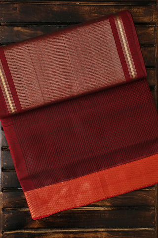 Dark Maroon with Missing Weaves Handwoven Mangalagiri Cotton Saree