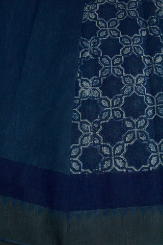 Indigo Blue with Big Ghicha Temple Border Block Printed Chanderi Saree