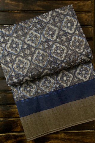 Grey with Indigo Big Ghicha Temple Border Block Printed Chanderi Saree