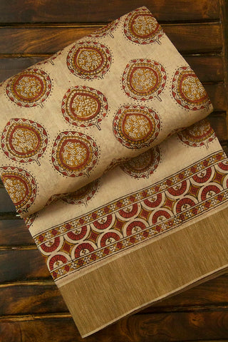 Beige with Brown Plain Ghicha Border Block Printed Chanderi Saree