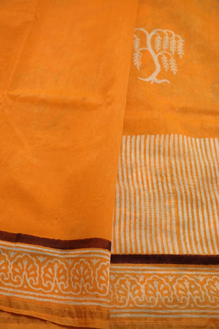 Yellowish Orange Bagru Print Chanderi Saree