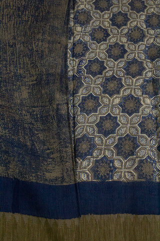 Grey with Indigo Stars Block Printed Chanderi Saree
