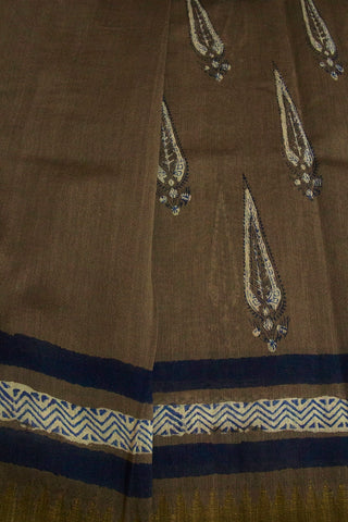 Grey with Indigo Big Leaf Block Printed Chanderi Saree