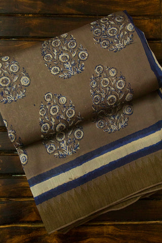 Off White with Indigo Intricate Floral Block Printed Chanderi Saree