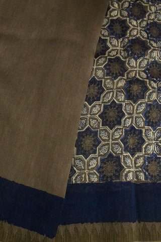 Grey with Indigo Stars Small Ghicha Temple Border Chanderi Saree