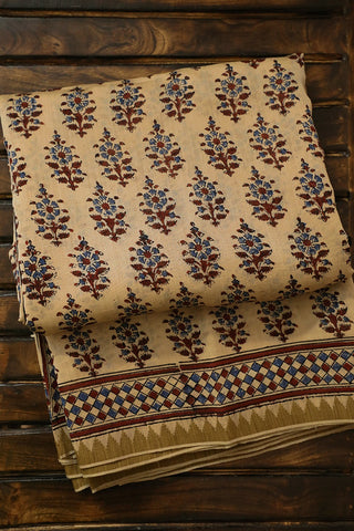 Beige with Indigo Block Printed Chanderi Saree