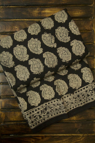 Black with Grey Paisley Block Printed Kalamkari Saree