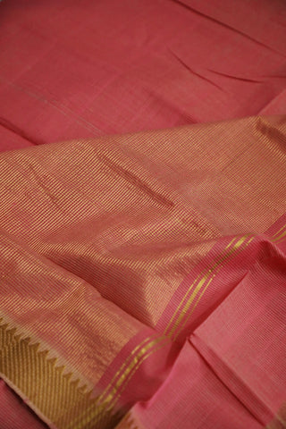 Light Pink with Temple Zari Border Handwoven Mangalagiri Cotton Saree