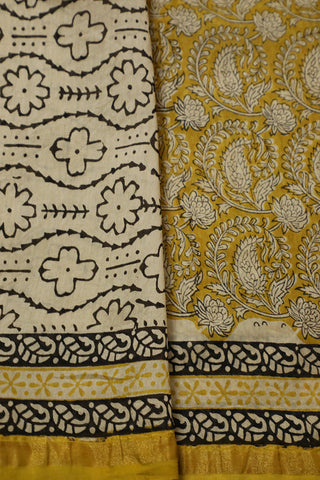 Light Yellow with Paisley Floral Bagru Print Chanderi Saree