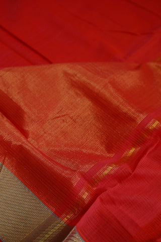 Red Missing Weaves Handwoven Mangalagiri Cotton Saree