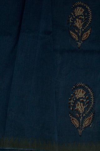 Faded Blue Flower Paisley Block Printed Chanderi Saree
