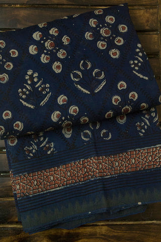 Blue Floral Checks Block Printed Chanderi Saree