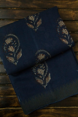Subdued Indigo with Big Temple Border Block Printed Chanderi Saree