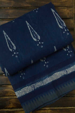 Subdued Blue with Off White Ghicha Border Block Printed Chanderi Saree
