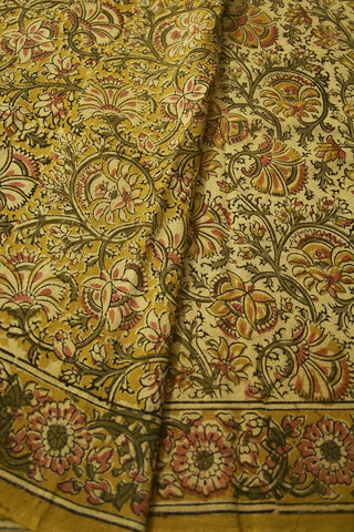 Olive Green with Peach Floral Block Printed Kalamkari Saree