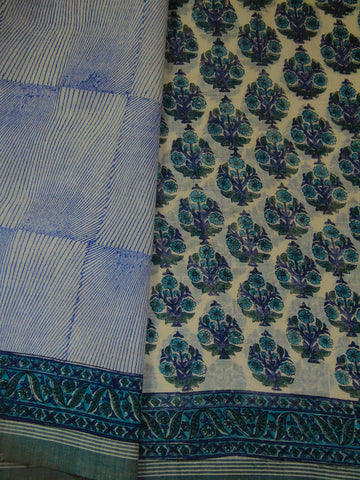 White with blue block printed khadi Cotton Saree