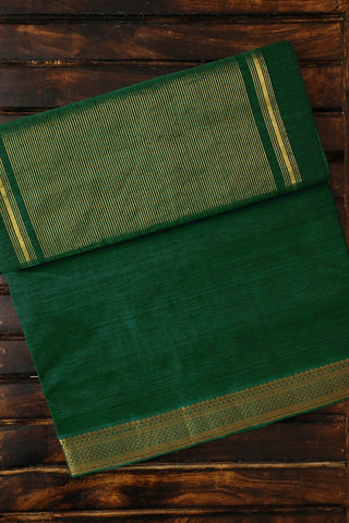 Dark Green with Traditional Border Handwoven Mangalagiri Cotton Saree
