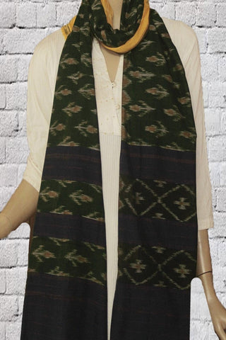 Green with Yellow Handwoven Orissa Ikat Cotton Stole