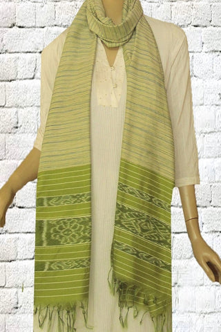 Off White with Green Strips Handwoven Organic Khadi Silk Cotton Stole