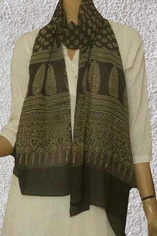 Elephant Grey with Small Floral Ajrak Mul Cotton Stole