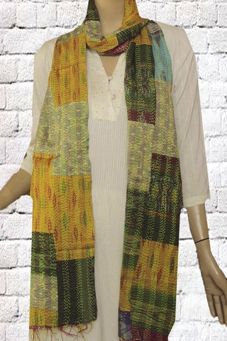 Shades of Yellow Patchwork Kantha Stitch Reversible Silk Stole