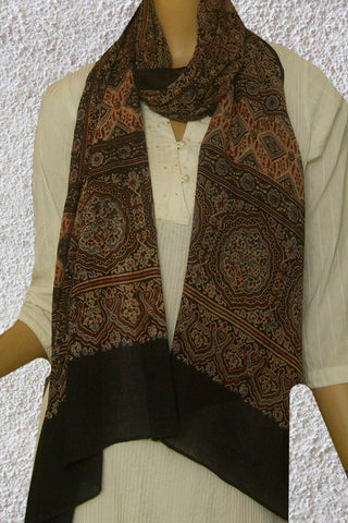 Black with Beige Circles and Stars Ajrak Mul Cotton Stole