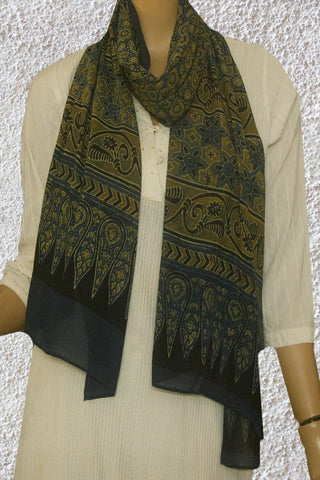 Indigo with Circles and Stars Ajrak Mul Cotton Stole