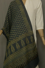 Subdued Indigo with Small Floral Ajrak Cotton Stole