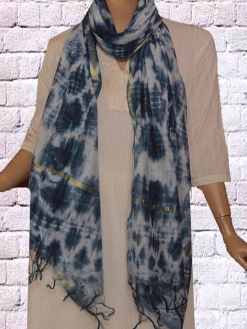 Tie & Dye Indigo Silk Cotton Stole