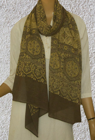 Subdued Yellow with Grey Circles Ajrak Cotton Stole