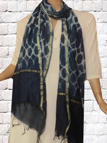 Indigo Tie & Dye Silk Cotton Stole
