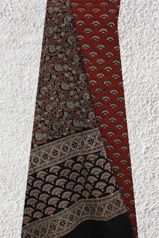 Maroon with Black Floral Ajrak Block Printed Bottom and Dupatta