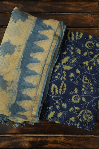 Blue Ajrak Top with Kota Silk Dupatta