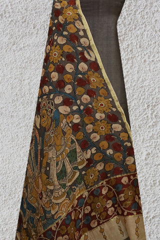 Grey Tussar Silk Top with Painted Kalamkari Dupatta