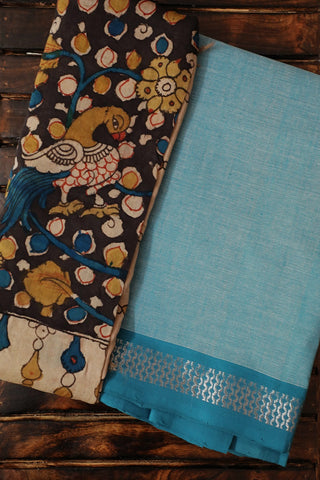Light Blue Handwoven Top with Painted Kalamkari Dupatta