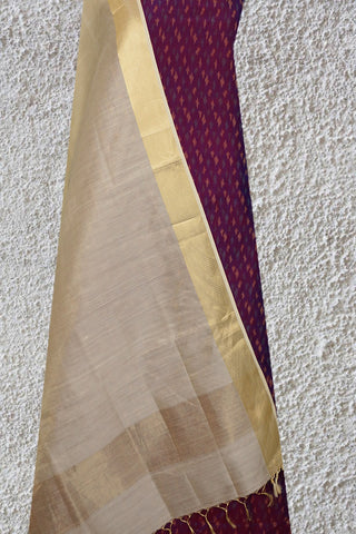 Ikat Silk Cotton Top with Maheshwari Silk Dupatta