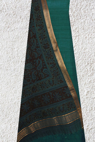 Peacock Blue Mangalagiri Top with Printed Kalamkari Dupatta