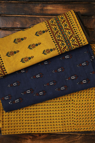 Blue with Yellow Finely Block Printed Ajrak Full Suit