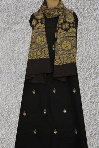 Black Jamdani Buta Fabric with Ajrak Stole