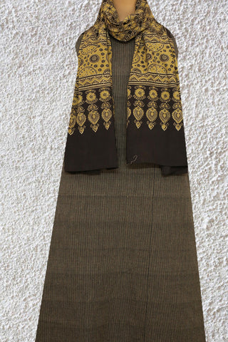 Black Stripes Yarn Dyed Top with Ajrak Stole