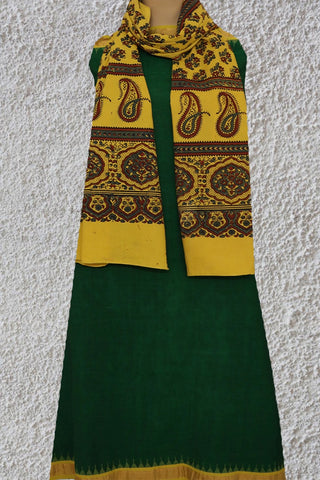 Green Kuppadam Border Khadi Top with Ajrak Stole
